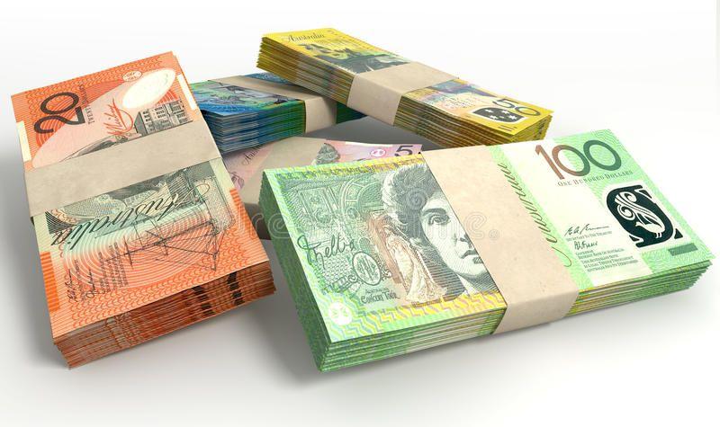 Australian Dollar Notes Bundles Stack A Stack Of Bundled