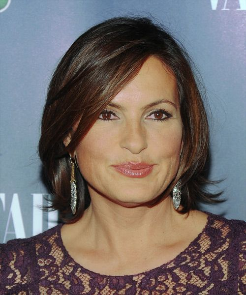 Mariska Hargitay Short Straight Formal Hairstyle with Side Swept Bangs in 2019  Hair  Hair