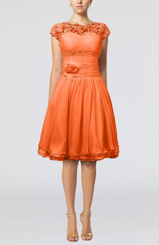 Short sleeve dresses for wedding guests  Tangerine Bridesmaid Dress  Cinderella Aline Scalloped Edge Short