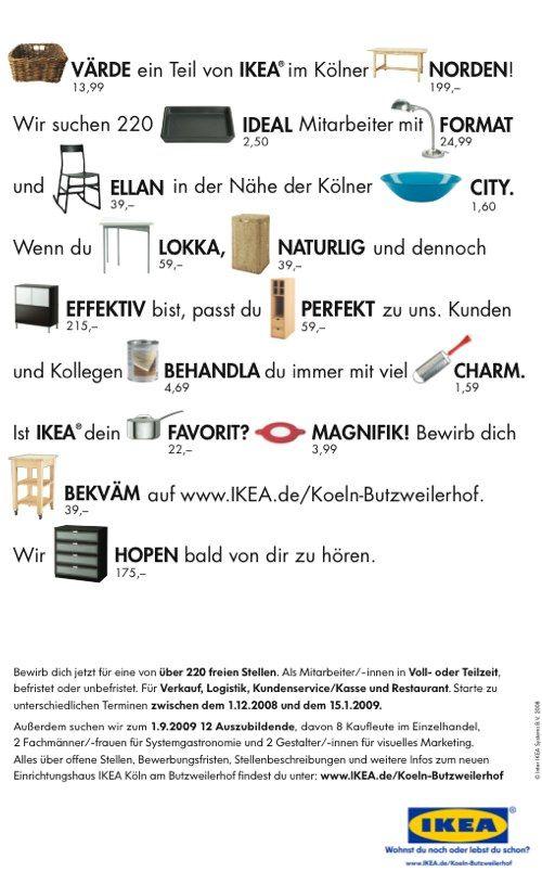 Ikea Cologne Innovative Job Ads Stellenanzeigen Werbung Marketing