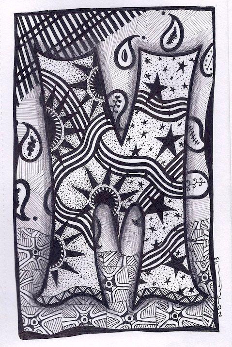 Zentangle, Letter M, Zebra Letters, name, bunting via Etsy