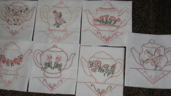 Hand Embroidered Quilt Blocks Sweet Teapots OOAK by Hisnow on Etsy, $20.00