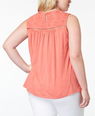 d47a7aacf4d28 Lucky Brand Trendy Plus Size Cotton Embroidered Button-Back Tank Top - Pink  2X