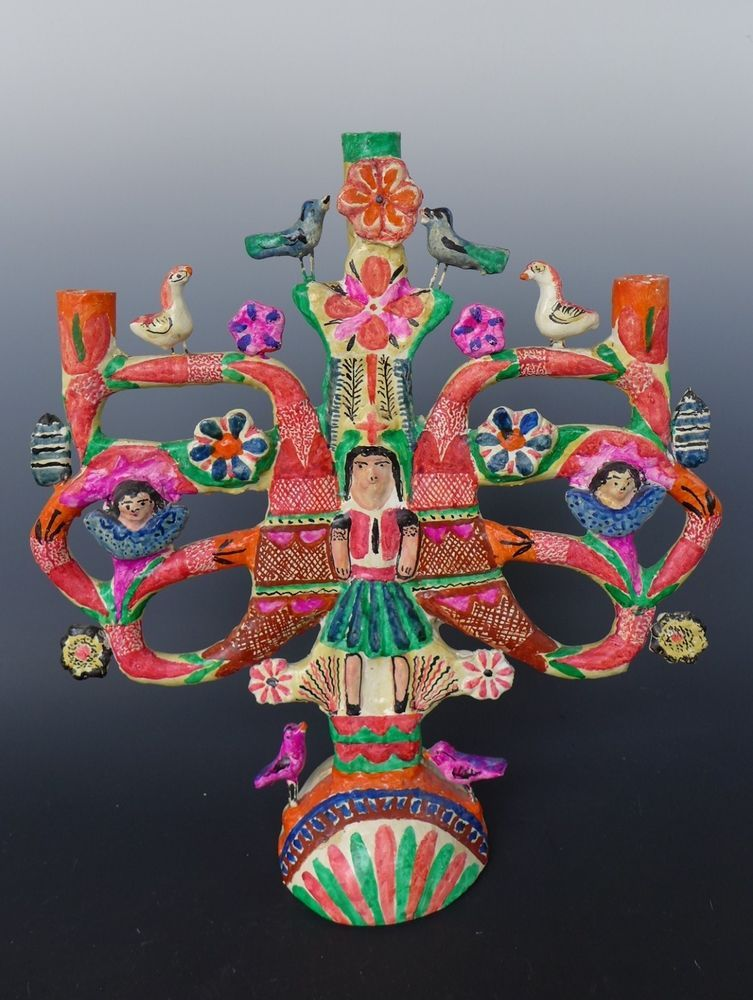 Vintage Mexican Pottery Candelabra Francisco Flores Tree Of Life 16 Tall Mexican Folk Art Mexican Art Mexican Pottery