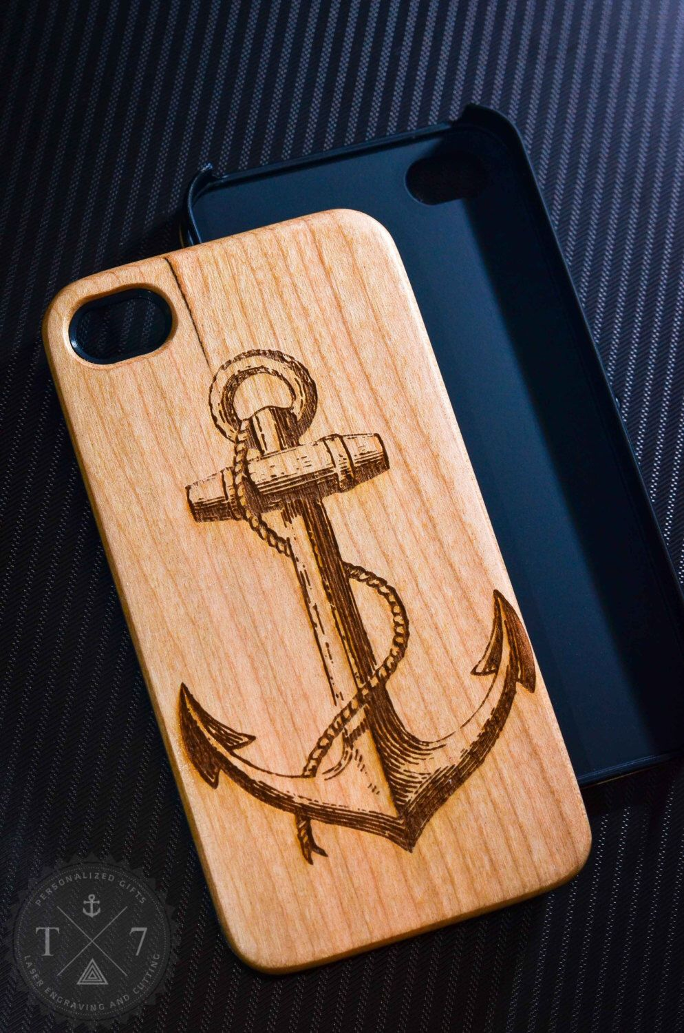Anchor vintage wooden iphone s iphone case walnut bamaboo wood