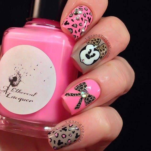 minnie mouse leopard print nails ♡ | uñas | Pinterest | Uñas lindas ...