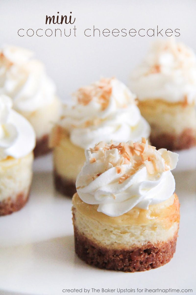Coconut Cheesecakes Mini Coconut Cheesecakes on  ...these look amazing!Mini Coconut Cheesecakes on  ...these look amazing!