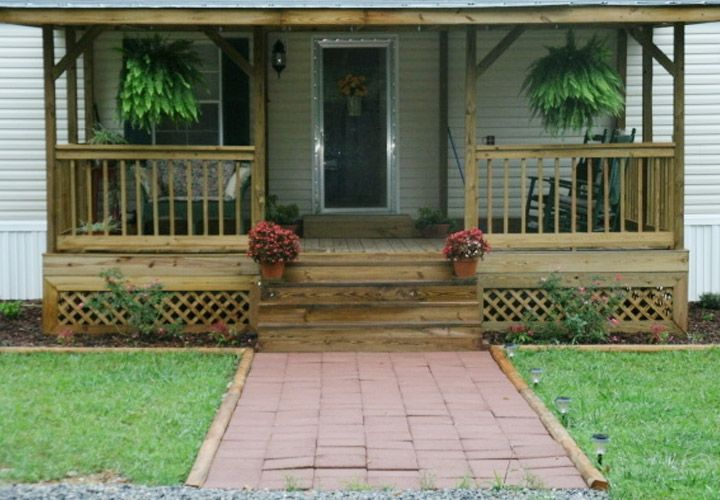 Porches for long singlewide trailors mobile home front for Single wide mobile homes with front porches