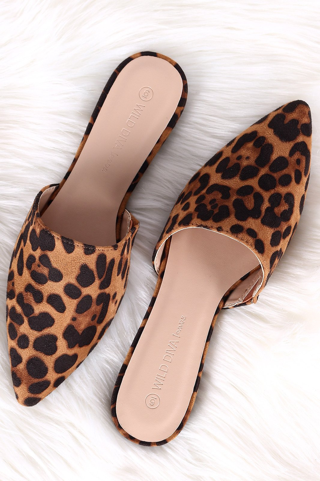 Wild Diva Lounge Leopard Suede Pointy Toe Mule Flat  6344e9a880b