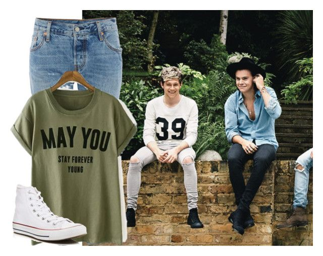"""""""Hanging out with Niall and Harry"""" by onedirection-5sos-lover ❤ liked on Polyvore featuring Levi's and Converse"""