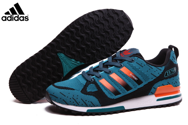 Men's Adidas Originals ZX 750 Flyknit Shoes Lake BlueOrange