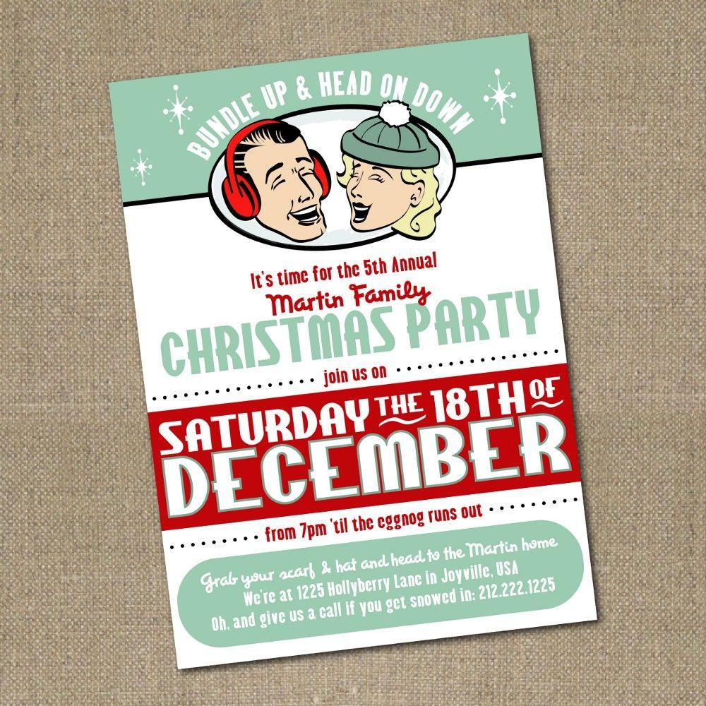 Retro Printable Christmas party invitation. $12.00, via Etsy ...