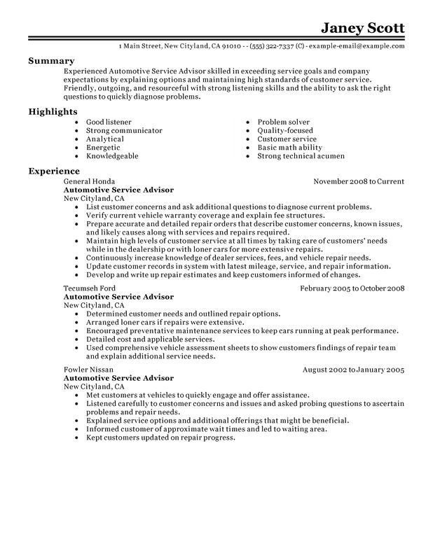 Related image Naresh Pinterest Searching - automotive service advisor resume