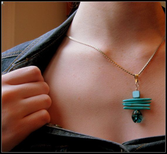 SOLD - Handmade Turquoise Bead Pendant by WhiteRoofGifts on Etsy, $16.00
