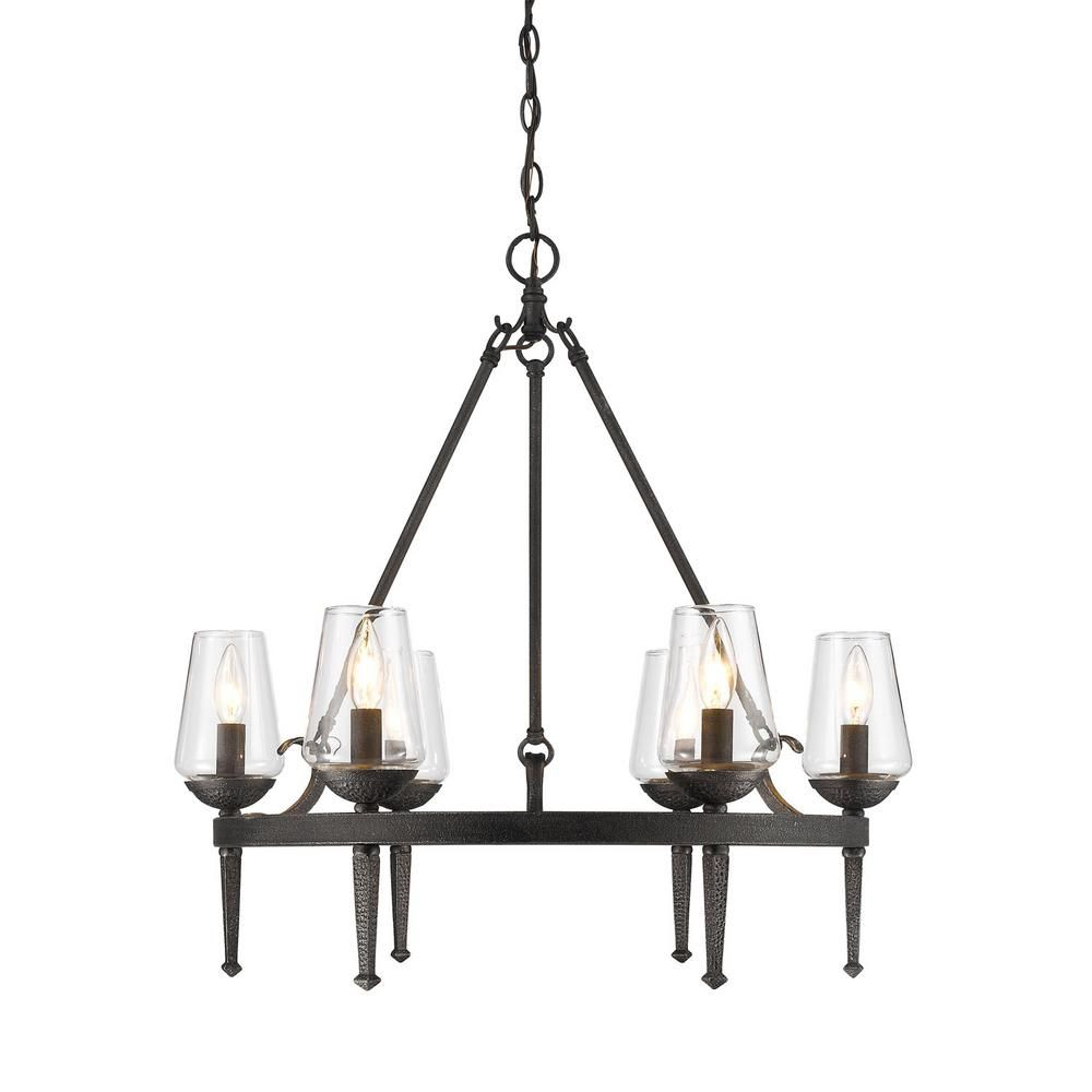 Marcellis 9 Light Dark Natural Iron Chandelier with Clear Glass Shade
