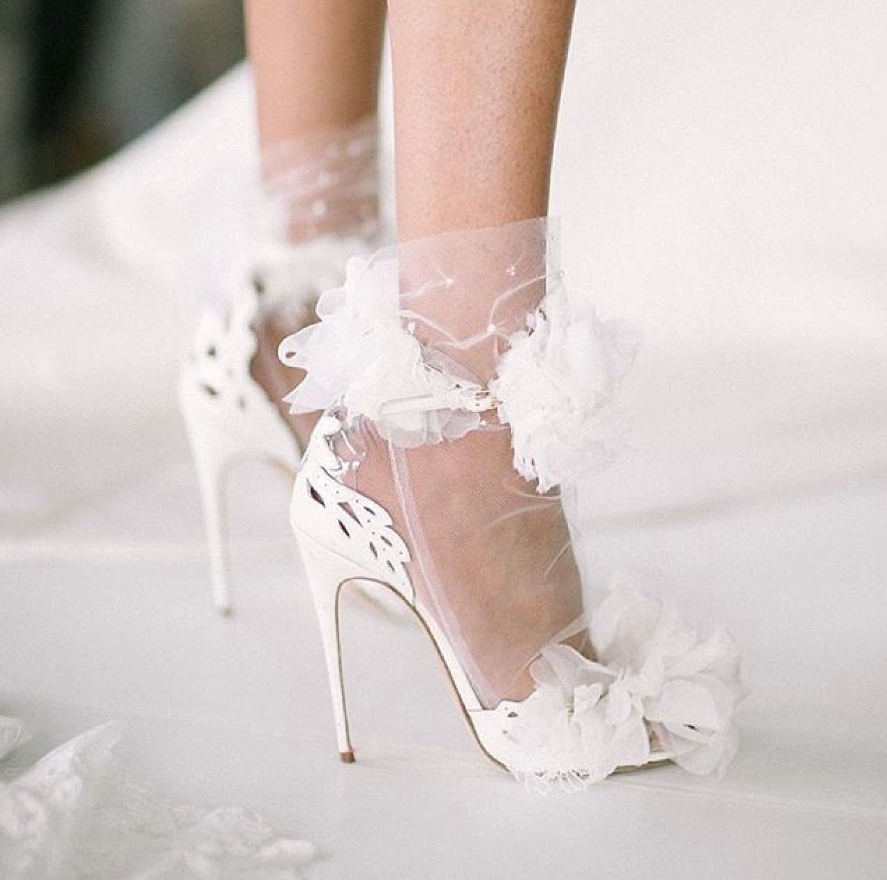 Tulle Wedding Dress with Sandals