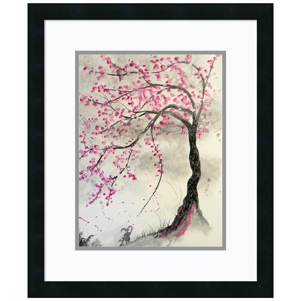 Amanti Art Cherry Blossom Tree By Ed Capeau Framed Print Wall Art Matte Black Wall Art Prints Tree Wall Art Tree Mosaic