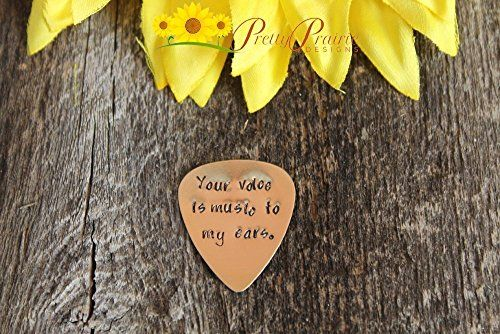 Personalized Brass Guitar Pick  Your Voice is Music to my Ears  Hand Stamped Keepsake  Musician Gift  Guitar Lovers Present  Handstamped Handmade ** Want additional info? Click on the image.