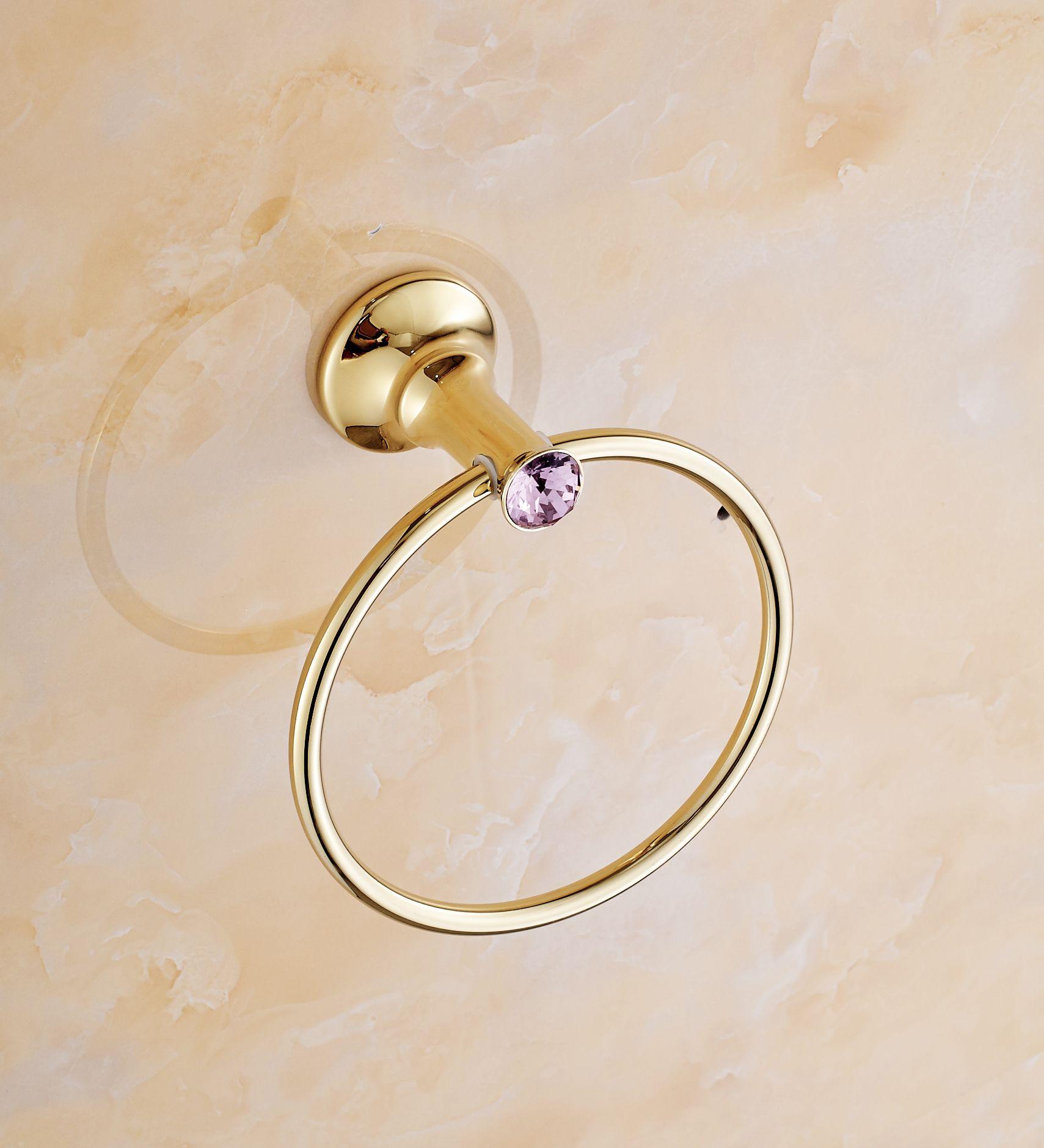 Violet Crystal Towel Ring Brass Bathroom Towel Rack Solid Brass ...