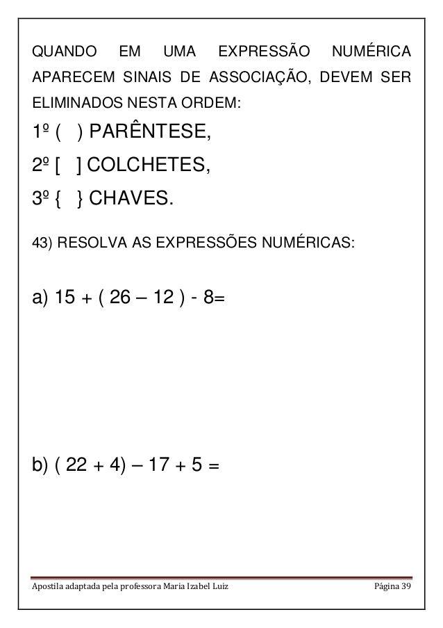 apostila matemática em pdf 4 ano pinterest