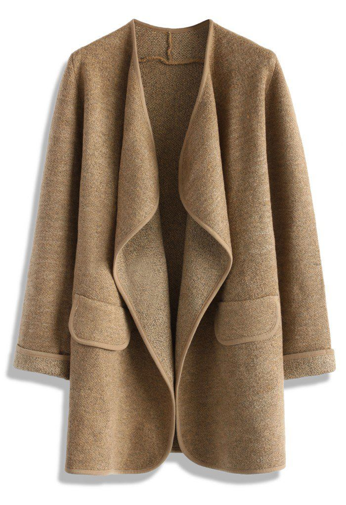 knit open coat in brown - perfect fall layering coat