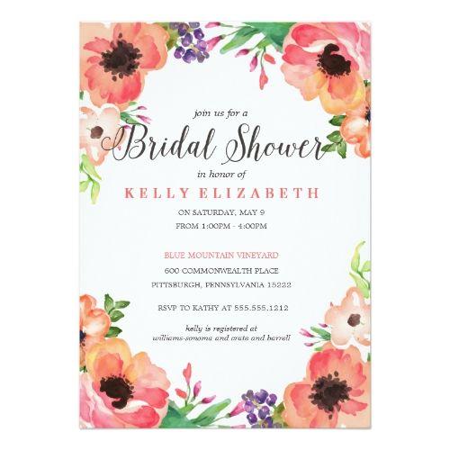 Floral wedding invitations modern watercolor floral bridal for Modern bridal shower invitations