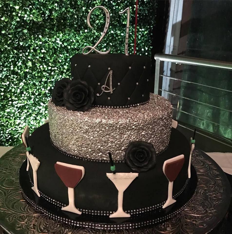 Unique And Elegant 21st Birthday Cake With Edible Metallic Tier