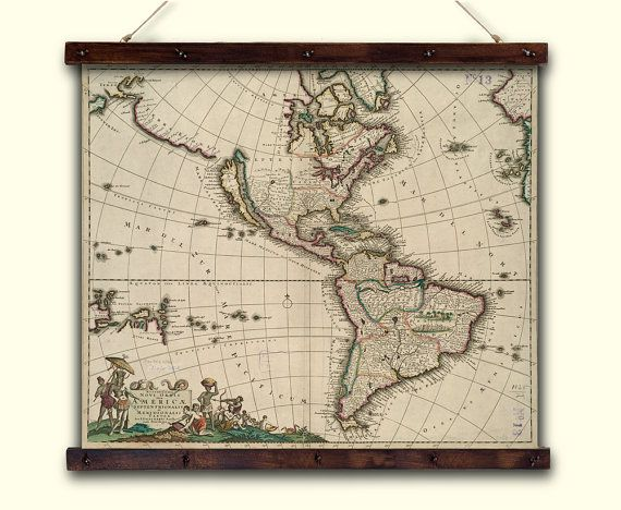 Ancient map of America-1650 year, roll up map. Continent America ...