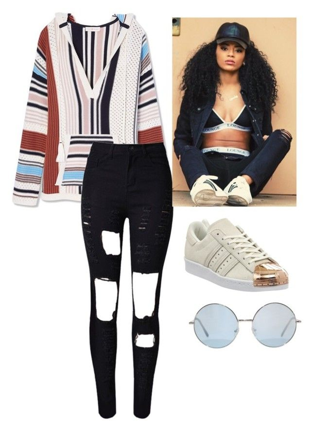 """Ootd"" by jada-daire on Polyvore featuring Tory Burch and adidas"