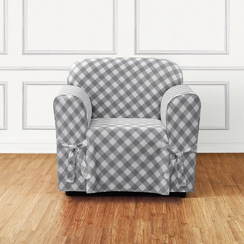 Buffalo Check Armchair Skirted Slipcover Slipcovers for