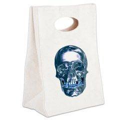 Blue Chrome Skull Canvas Lunch Tote> Lunch Bags> Atteestude T-Shirts And Gifts  #school supplies