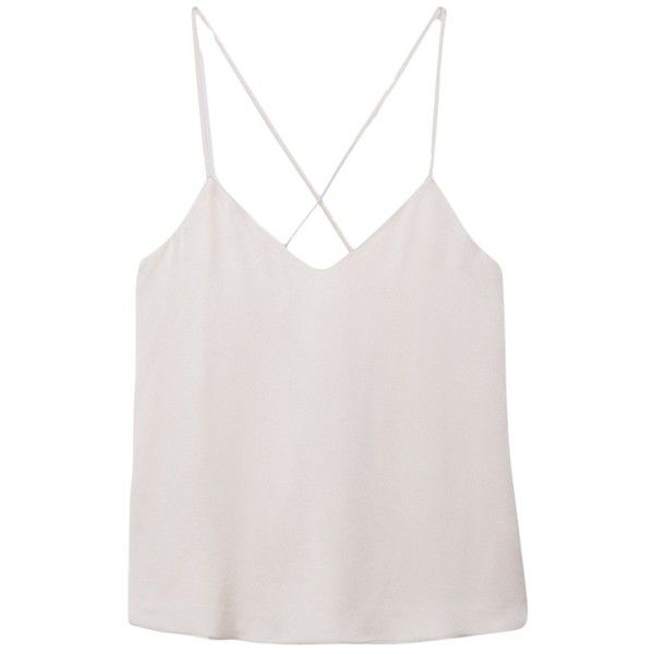 Mango Spaghetti Strap Top, Silver (995 RUB) ❤ liked on Polyvore featuring tops, tank tops, blusas, crop top, v-neck tank, v neck tank top, pink crop top, sleeveless tank and v neck crop top