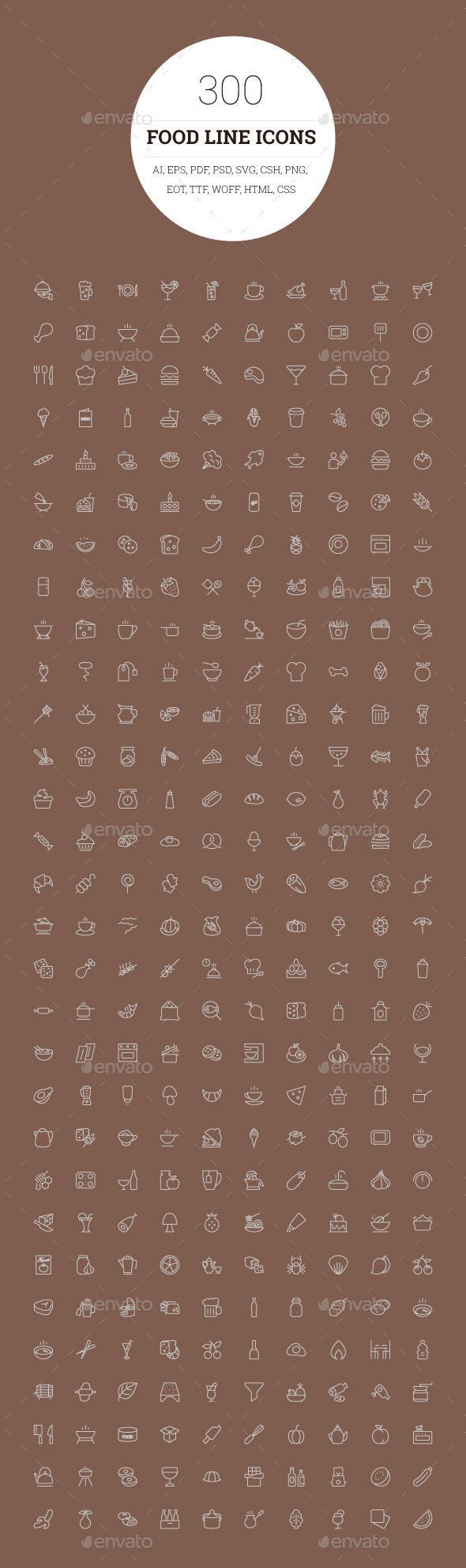 300 Food Line Icons Line icon, Food icons, Restaurant icon