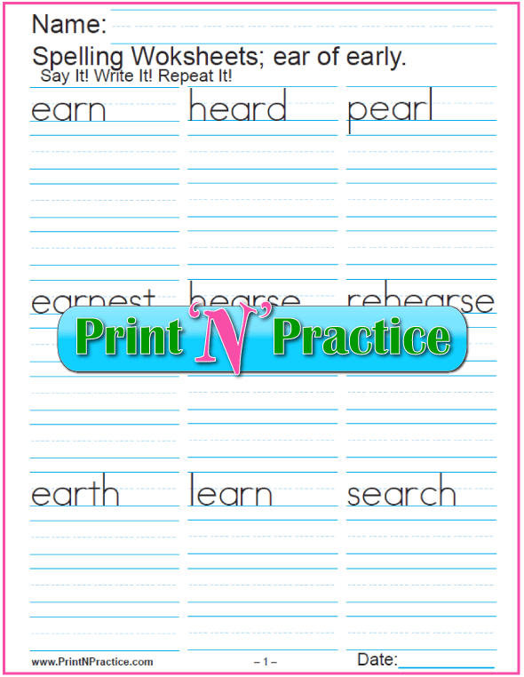 Ear Trigraph Worksheet Phonics Lesson  Phonics Worksheets And