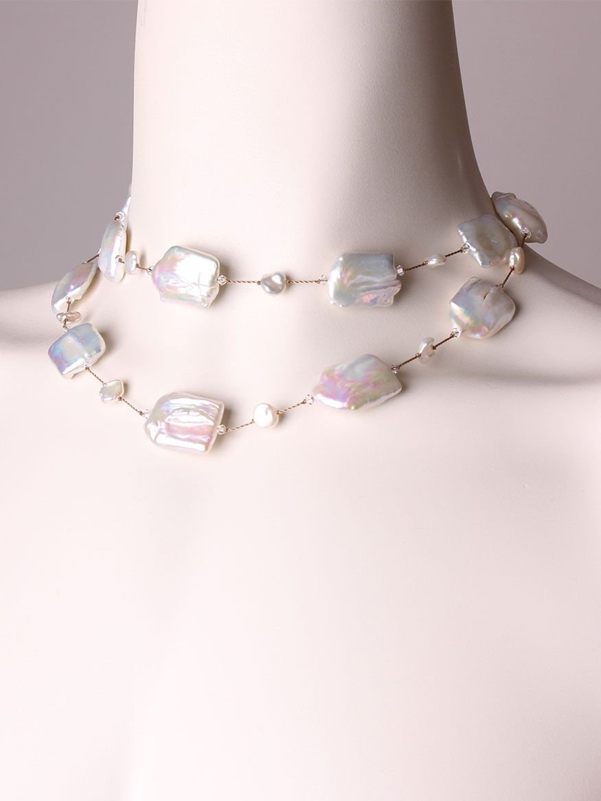 Margo Morrison Blue Stone & Pearl Necklace 0VxYyrlL1R