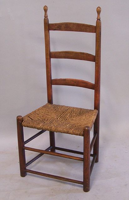 Period American Country Ladder Back Side Chair C 1740 Ladder