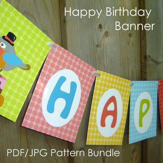 birthday banner downloadable pdf jpeg craft bundle printable