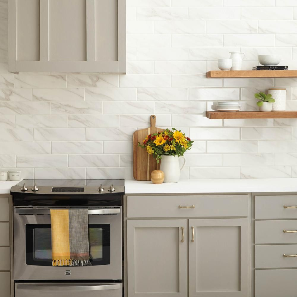 Daltile Selwyn Bianco Calacatta 4 In X 16 In Glazed Ceramic Wall Tile 13 2 Sq Ft Case Sl60416hd1p2 The Home Depot Ceramic Wall Tiles Kitchen Renovation Kitchen Wall Tiles Backsplash