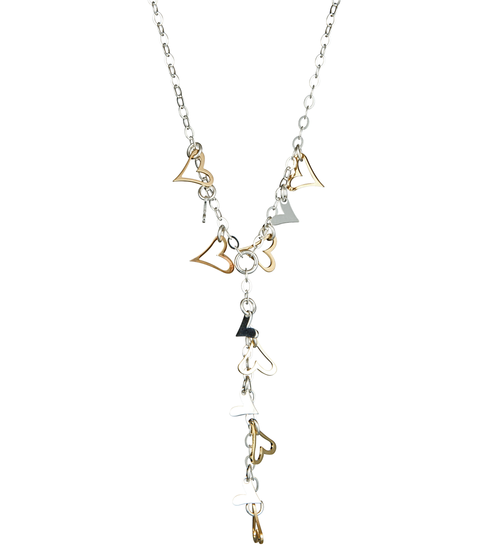 Sterling Silver ladies necklace with hearts charms