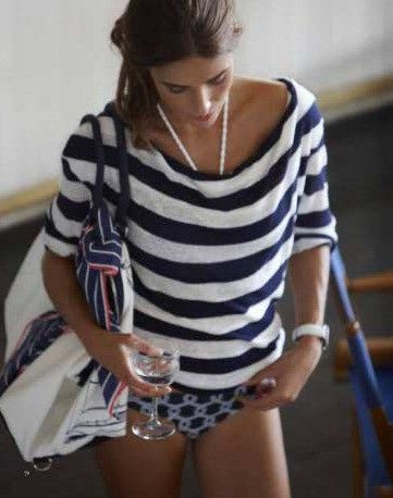 Navy and white stripes.