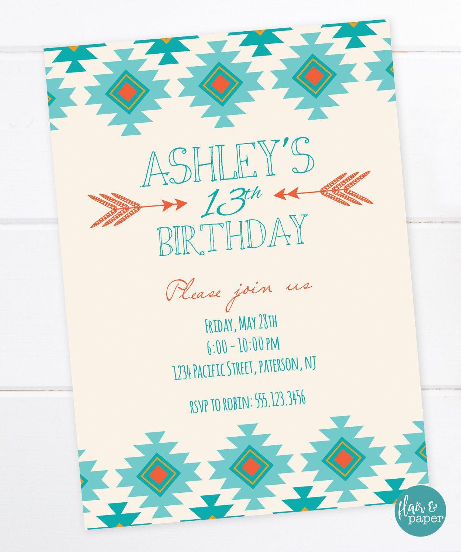 Tribal Aztec Birthday Invitation, Printable Tribal Invitation, Aztec Printable Invitation, Boho, Bohemiam, Sweet 16, Teen Birthday, Tween by FlairandPaper ...
