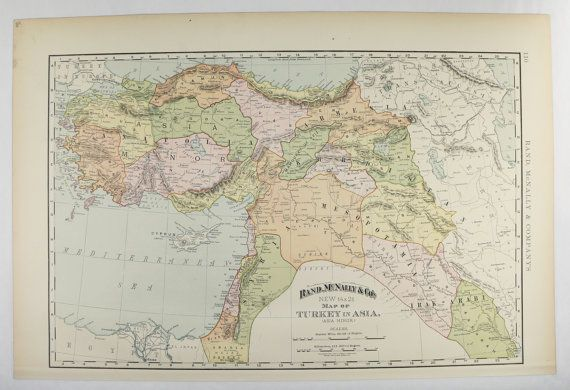 1898 Map of Middle East  Turkestan Map Iraq  Armenia Map  Turkey in     1898 Map of Middle East  Turkestan Map Iraq  Armenia Map  Turkey in Asia  Minor Map  Syria Palestine Map  Office Art Gift for Guy
