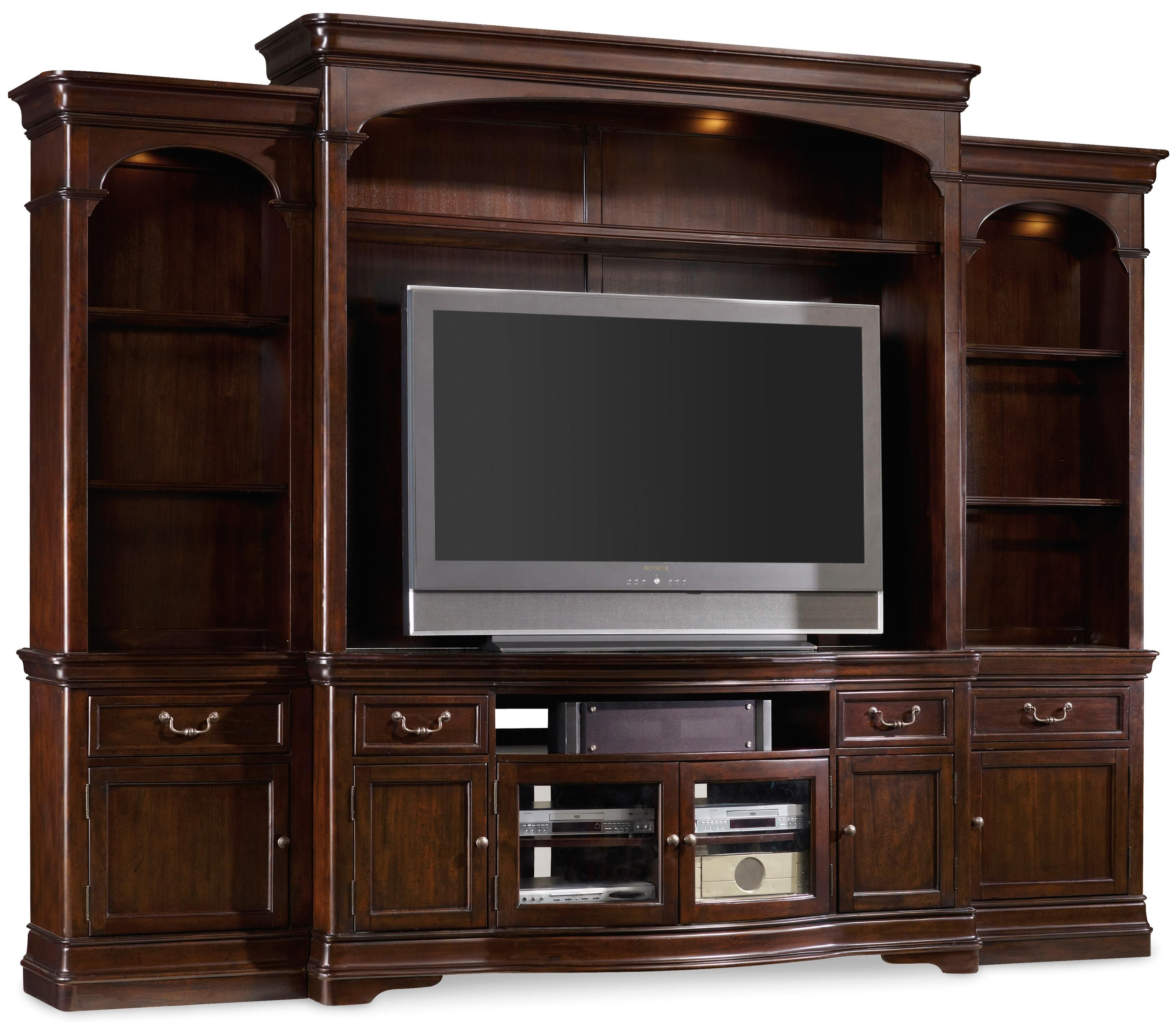 hooker furniture entertainment center. Hooker Furniture Sheridan Traditional Four-Piece Breakfront Entertainment Unit With Touch Lighting And Adjustable Shelves - Belfort Wall Center M