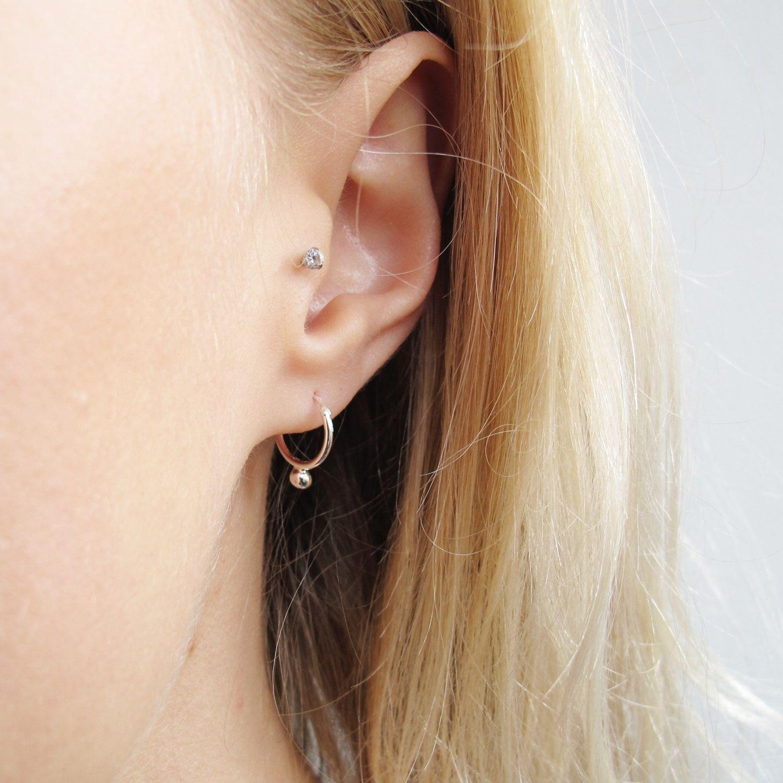 Small Silver Hoop Earrings Sterling Unusual Delicate