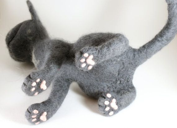 Needle Felted Cat Animal Russian Blue Cat Gray Blue Cat Felted Toy