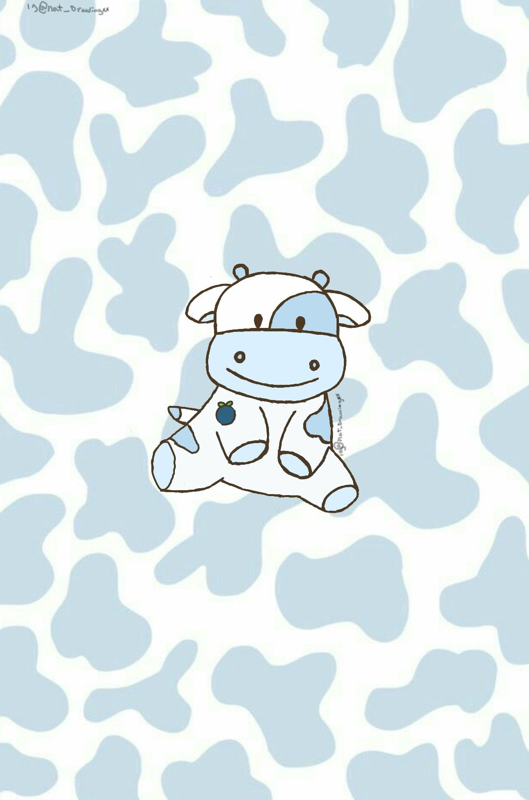 Nat Drawingxx On Ig Made This Blueberry Cow In 2021 Cow Wallpaper Cartoon Wallpaper Cute Patterns Wallpaper