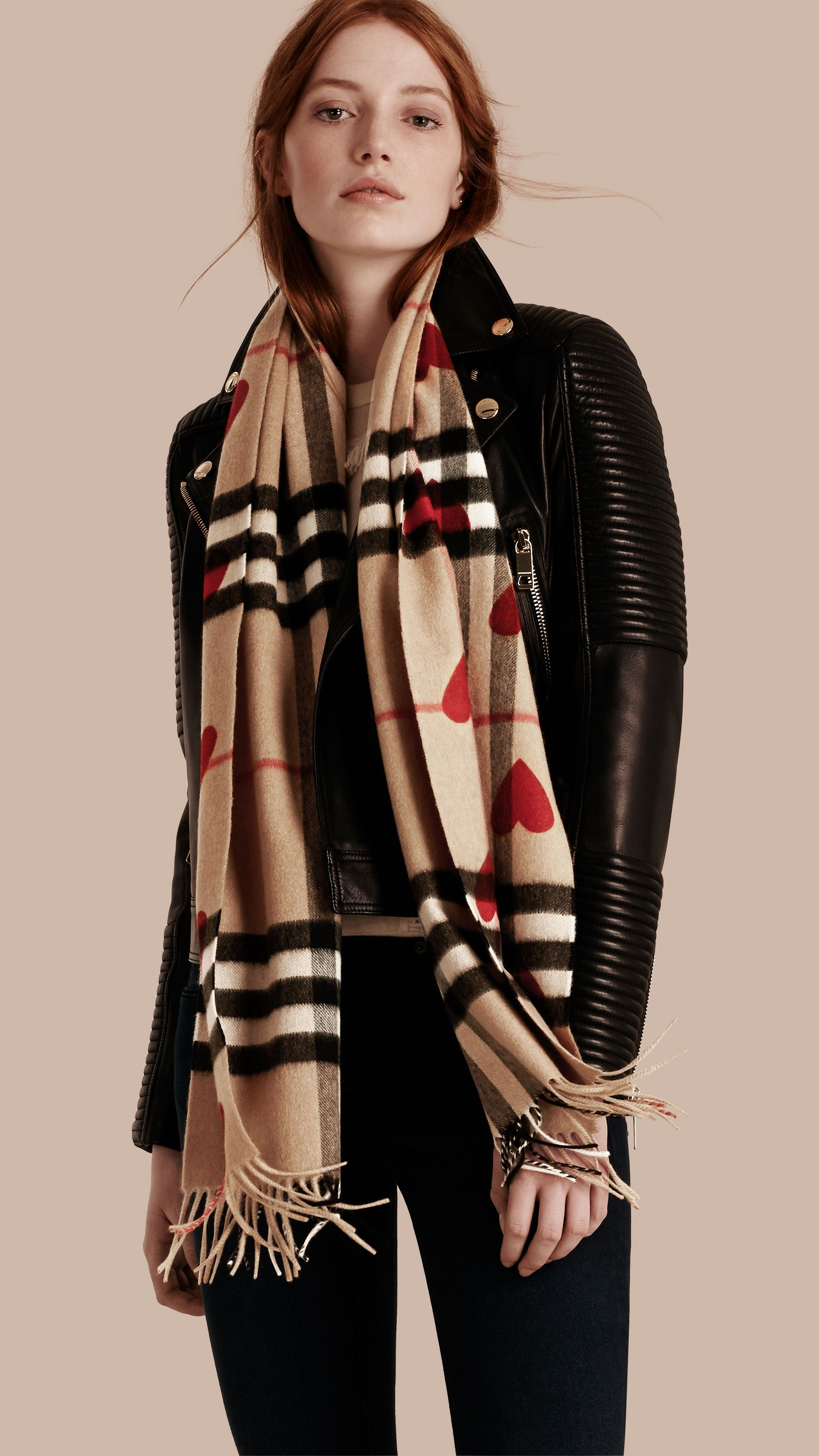 The Classic Cashmere Scarf in Check and Hearts Parade Red   Burberry ML 545593ace2c