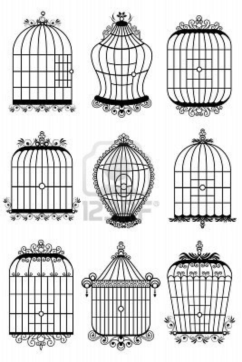 Free Birds With Open Birdcage Vector Background Illustration Bird Outline Birdcage Tattoo Hanging Bird Cage