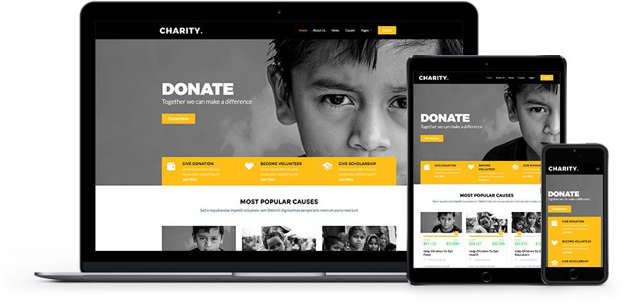 Charity Is A Free Non Profit Responsive Bootstrap Website Template Tailored For Charity Nonprofit Website Template Free Website Templates Fundraising Campaign