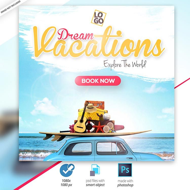 تصميم سياحي Psd مقتوح المصدر احترافي قابل للتعديل مجانا 2020 مكتبة الفوتوشوب In 2020 Travel Advertising Design Instagram Banner Facebook Post Design